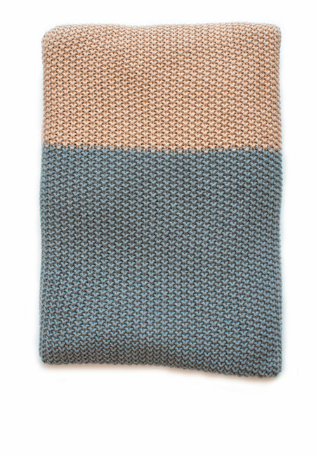 Moss Stitch Throw - Flint/Blush