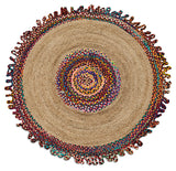 Round Multi Colour Jute Rug 200cm