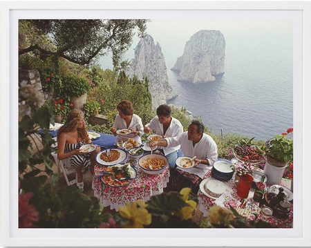 "Slim Aarons - ""Dining Al Fresco in Capri, Italy 1980"""