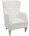White Linen Arm Chair