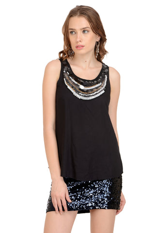 BLACK NECK EMBELLISHED TOP