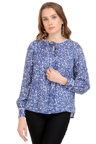 blue n white floral print top