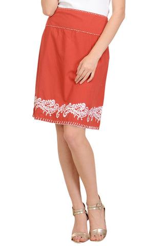 Red Embroidery Skirt