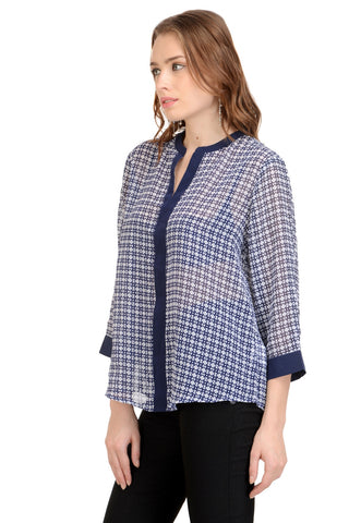 Blue & White Print Top With Placket