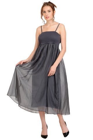 grey strap-on maxi dress