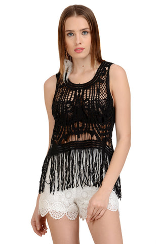BLACK BOHO Crochet TOP