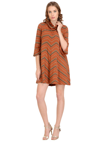 rust red striped dress