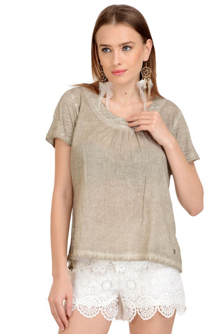 BEIGE BASIC SEQUIN TOP