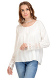 white full sleeve with lace at cuff