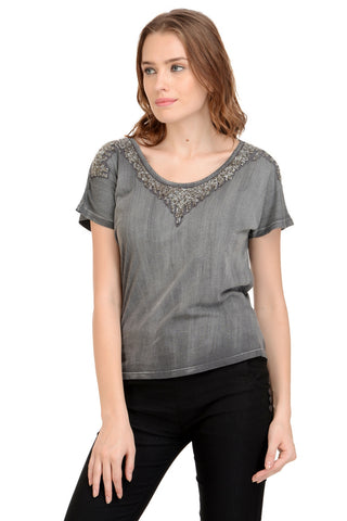 GREY EMBELLISHED TOP
