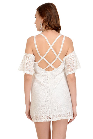 lace cold shoulder sassy dress