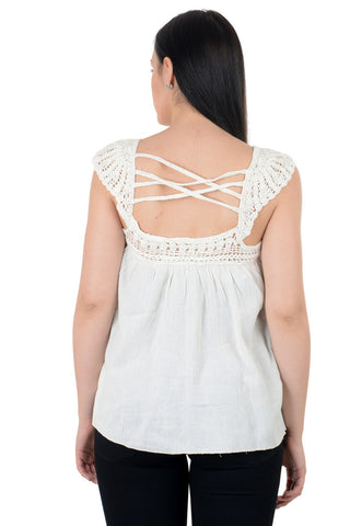 off white Crochet casual top