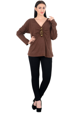 patch embellished brown top