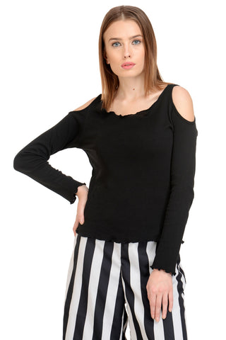 black cold shoulder full sleeves