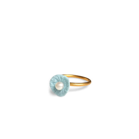 Ring pearl  /  Light blue