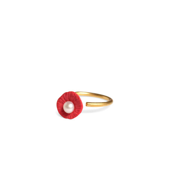 Ring pearl  /  Red