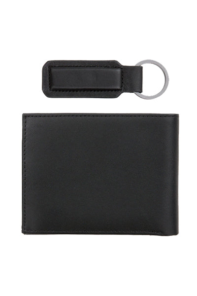 Calvin Klein Leather Wallet + Keychain Giftbox Black