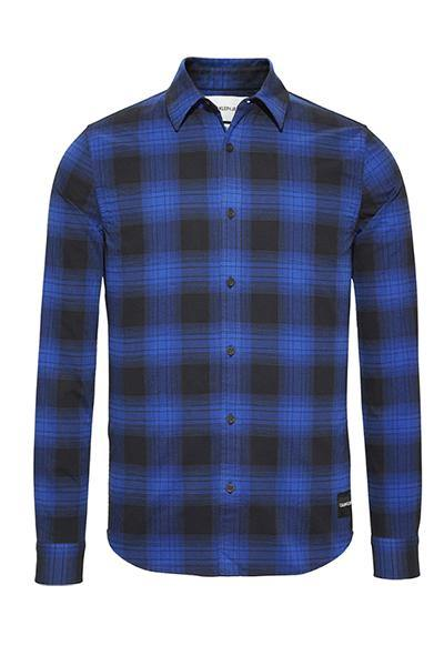 Calvin Klein Buffalo Check Slim Fit Overshirt Black/Blue