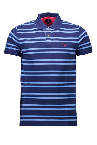 GANT S/S Stripe Polo Blue