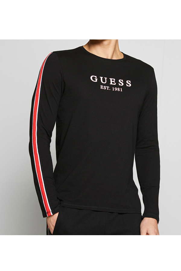 GUESS Stripe L/S Tee Black