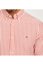 Tommy Hilfiger Slim Fit Textures Stripe Shirt Red