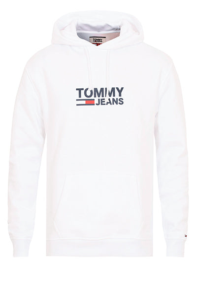 tommy hilfiger Tommy jeans corp logo hoodie white - xxl fra luxivo.dk