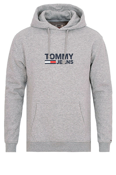 Tommy jeans corp logo hoodie grey heather - l fra tommy hilfiger fra luxivo.dk