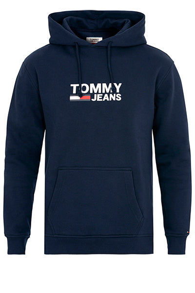 tommy hilfiger Tommy jeans corp logo hoodie navy - m på luxivo.dk