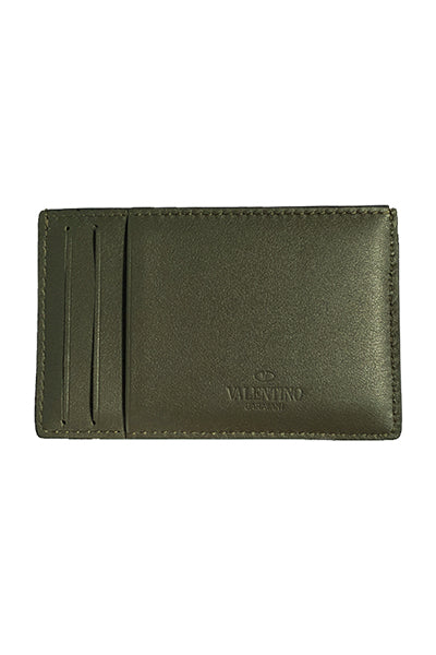 Valentino Rockstud Card Holder Army Shade