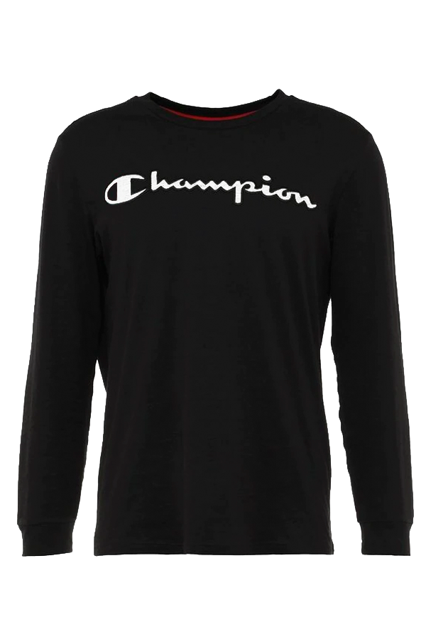 champion Champion logo l/s tee black - s fra luxivo.dk