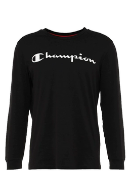 Champion Logo L/S Tee Black