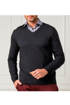 Hugo Boss Vallum Wool Sweater V-Neck Charcoal
