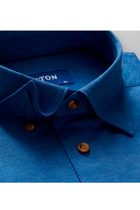 ETON Slim Fit Piqué Contrast Shirt Ocean Blue