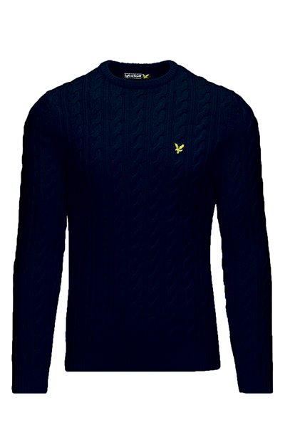 Image of   Lyle & Scott Cable-Knit Sweater Navy - L