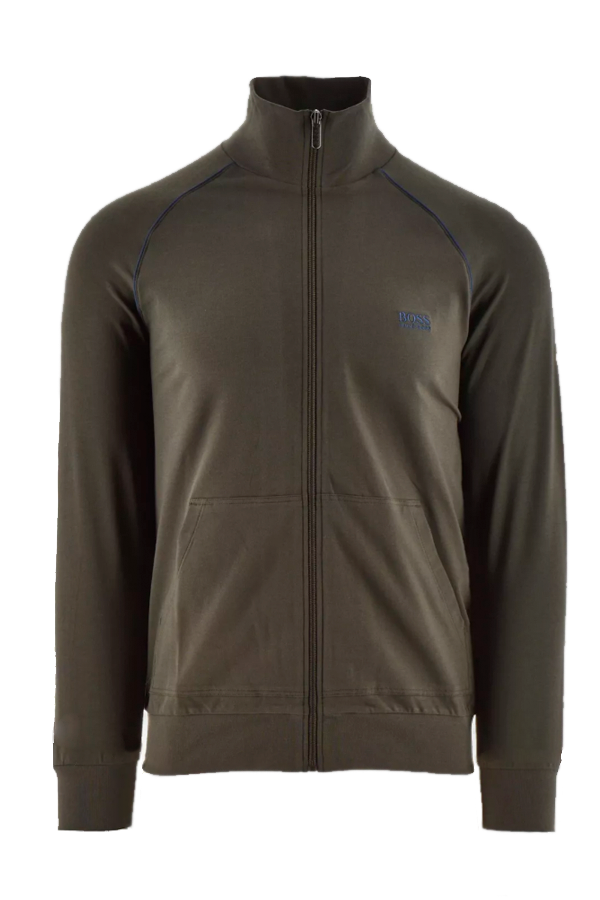 Hugo Boss Full Zip Cotton Jacket Open Green