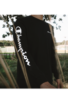 Champion L/S Logo Sleeve Tee Black