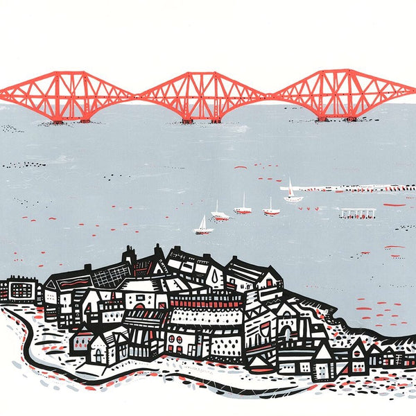 the red forth railbridge sits in pale blue water with south queensferry in the foreground