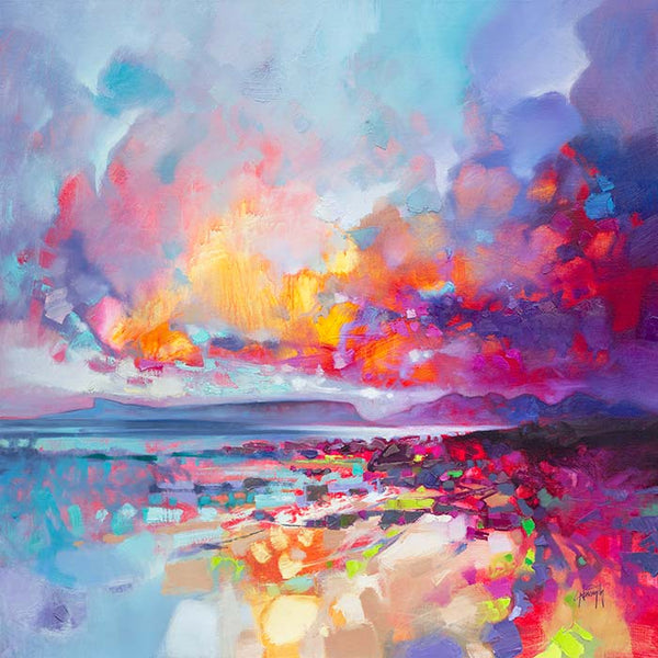 A brightly coloured print by scottish artist Scott naismith, an abstract landscape