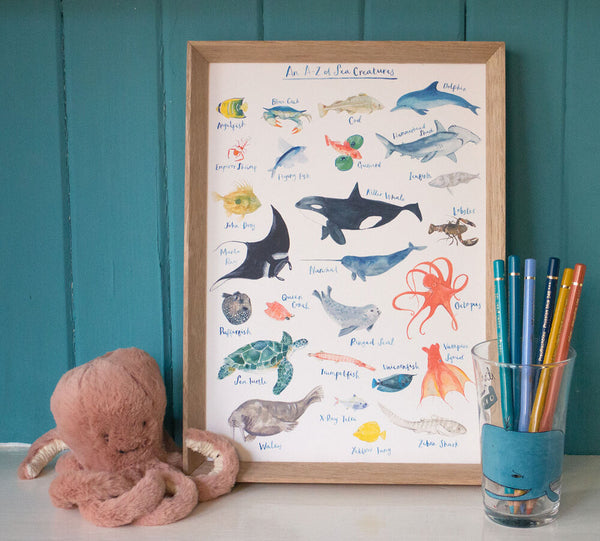 A to Z of sea creatures art print by fiona purves