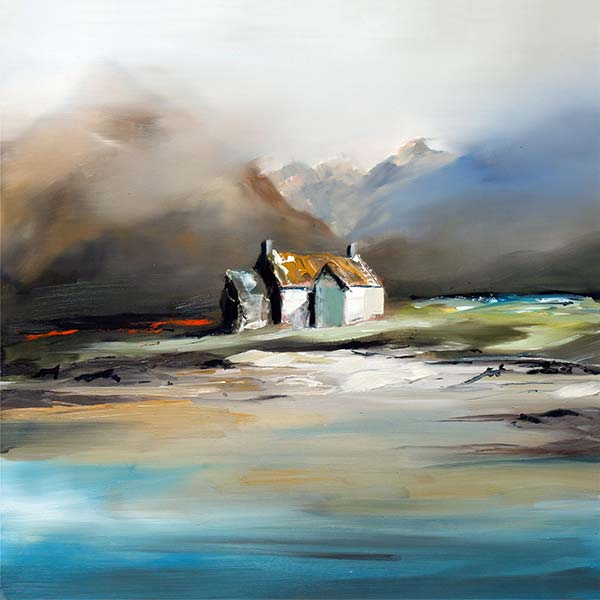 Mellow Moment by Garry Brander an atmospheric mutli media of a Scottish craft at a loch side