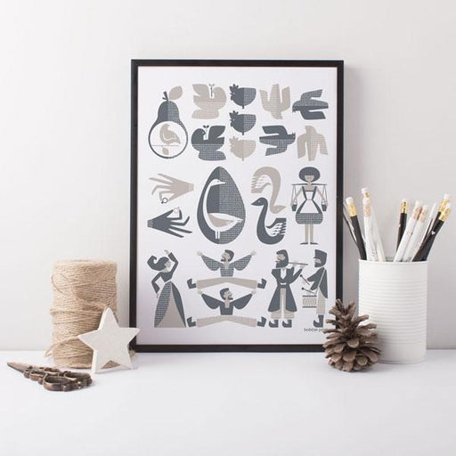 12 Days of Christmas A3 Medium Scandinavian Screen Print in Grey