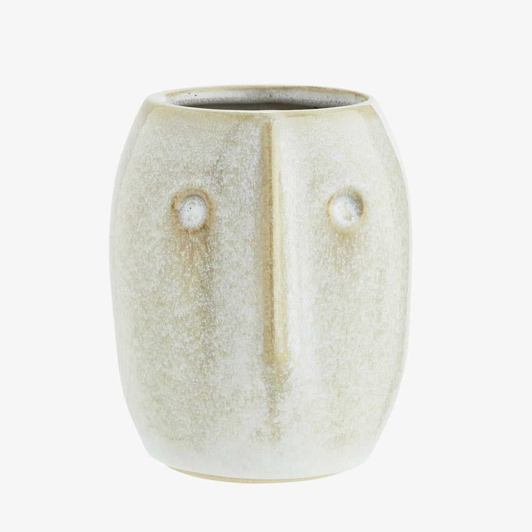 Small White Face Plant Pot