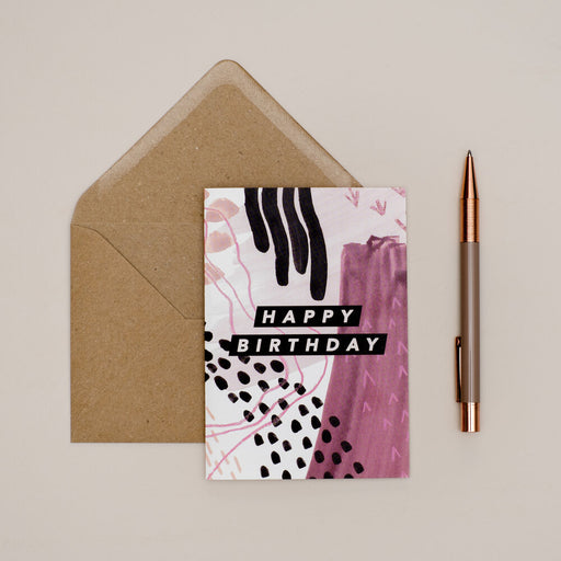 Burgundy Abstract Happy Birthday Card