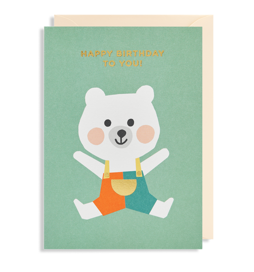 Bear In Dungarees Birthday Card