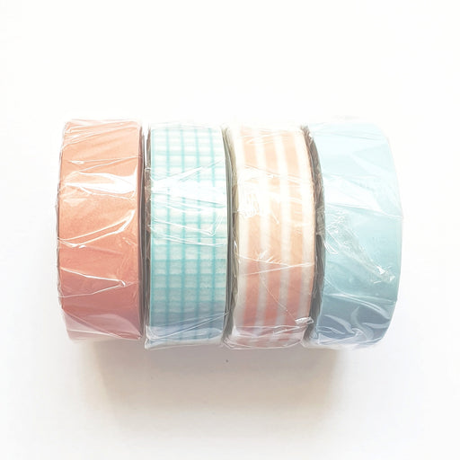 Set of 4 Peach and Turquoise Washi Masking Tapes