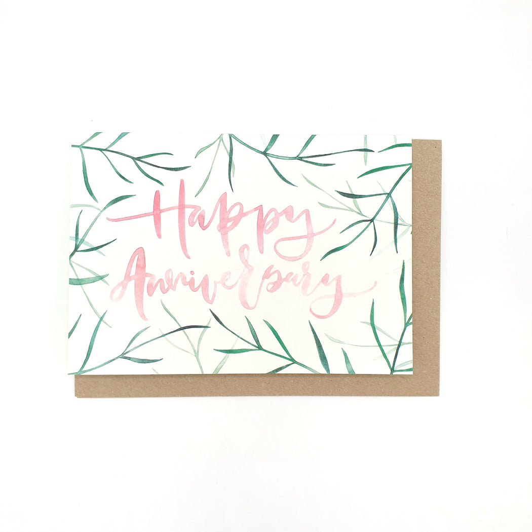 Greenery With Pink Text Happy Anniversary Card