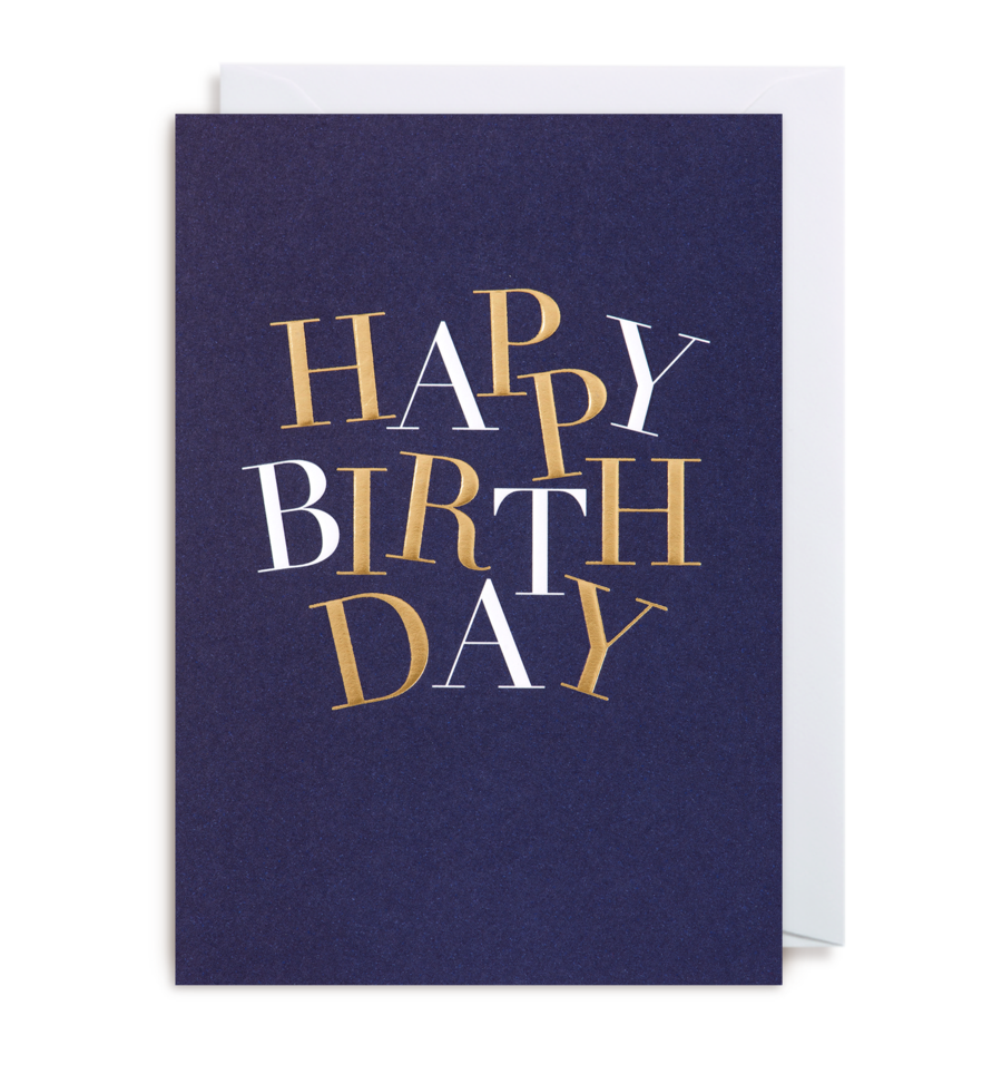 Navy Blue Birthday Card with Gold and White Lettering