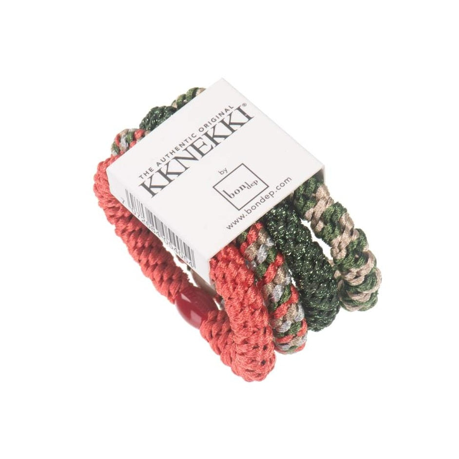 Set Of 4 Red, Green and Gold Kknekki Hair Ties