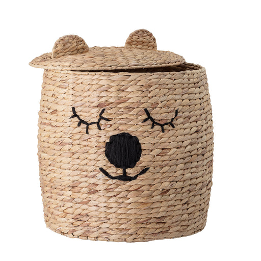 Water Hyacinth Bear Storage Basket With Lid