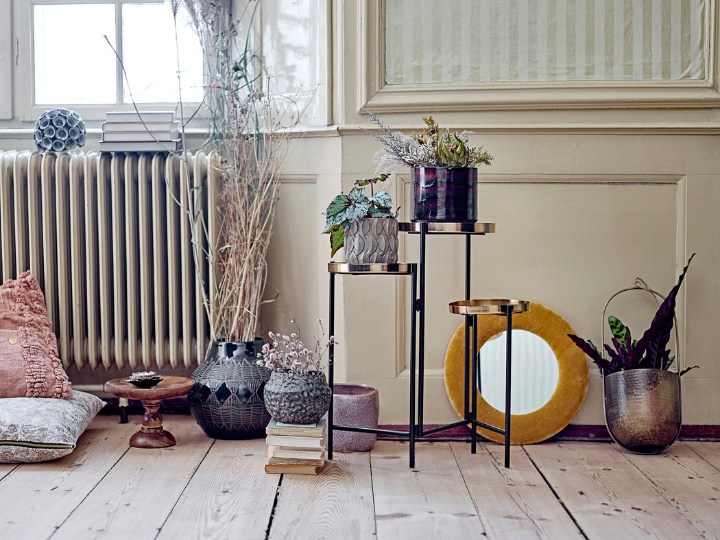 Amie Triple Plant Stand In Brass And Black Metal